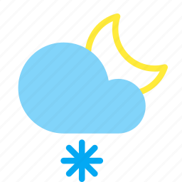 cloud, frosty, moon, night, snow, snowflake, weather icon