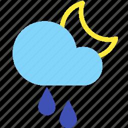 cloud, forecast, moon, night, rain, sprinkle, weather icon