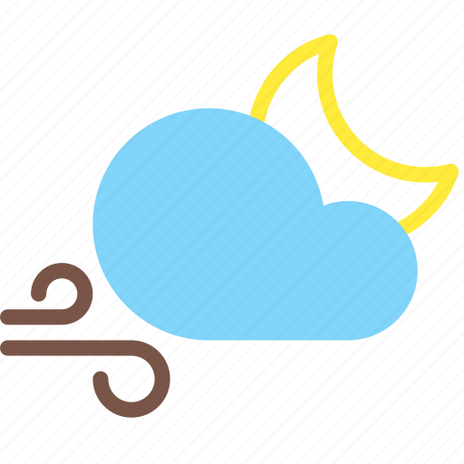 cloud, forecast, moon, night, weather, wind icon