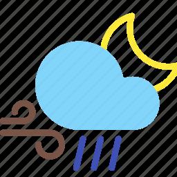 cloud, forecast, moon, night, rain, weather, wind icon