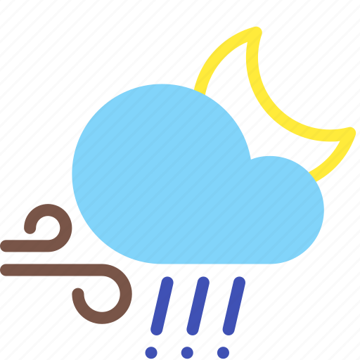 cloud, hail, moon, night, rain, weather, wind icon