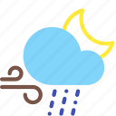 cloud, moon, night, rain, sleet, weather, wind icon