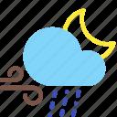 cloud, moon, night, rain, sleet, weather, wind