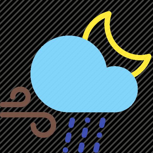 cloud, moon, night, rain, sleet, weather, wind icon