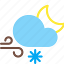 cloud, forecast, moon, night, snow, weather, wind icon
