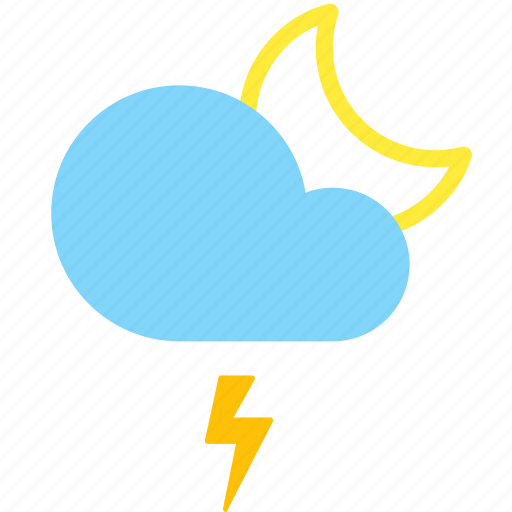 cloud, forecast, lightning, moon, night, weather icon