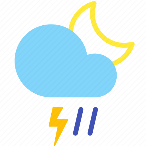 cloud, lightning, night, rain, storm, weather icon