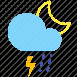cloud, lightning, night, rain, sleet, storm, weather icon