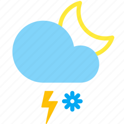 cloud, lightning, moon, night, snow, storm, weather icon