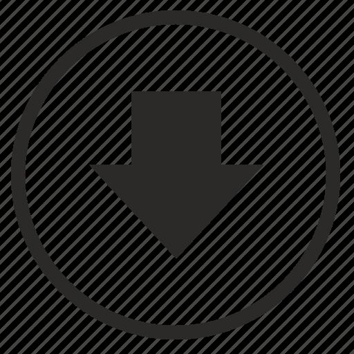 arrow, bottom, down, round, sign icon