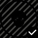 biometry, eye, head, keyboard, man, ok, person icon