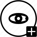 add, biometry, eye, scan, view icon