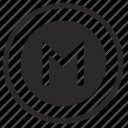 m, metro, metropolitan, pointer, round, sign icon