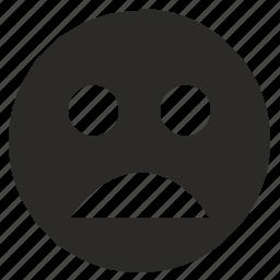 face, feeling, mobile, smiley, tired, unhappy icon