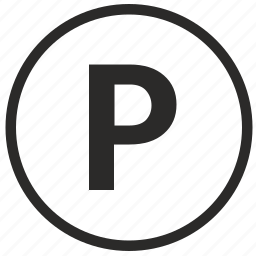 letter, p, park, parking, road, round, sign icon
