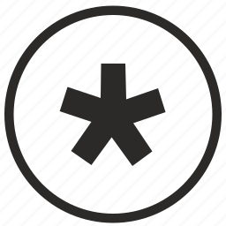 code, mode, password, pin, round, secret, star icon