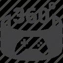 360, gamepad, gaming, virtual reality icon