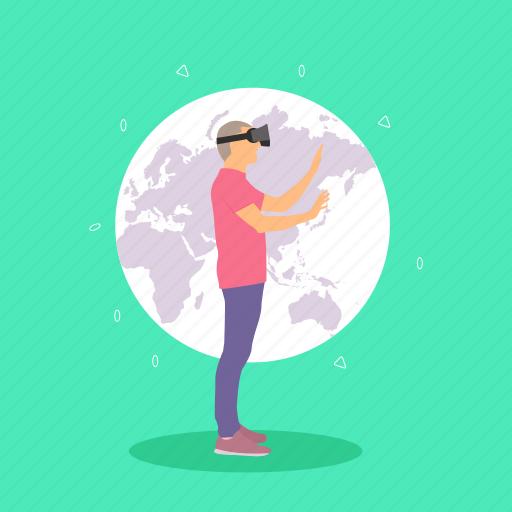 future technology, globe, headset, man, virtual reality world, vr icon