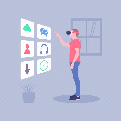 hi tech, multimedia, technology, touch screen, virtual reality app icon