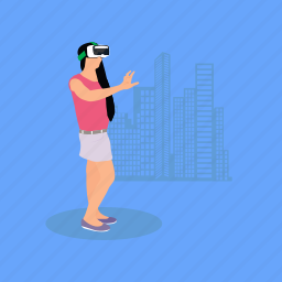 architectural design, architecture, girl with vr glasses, managing building project, virtual reality icon