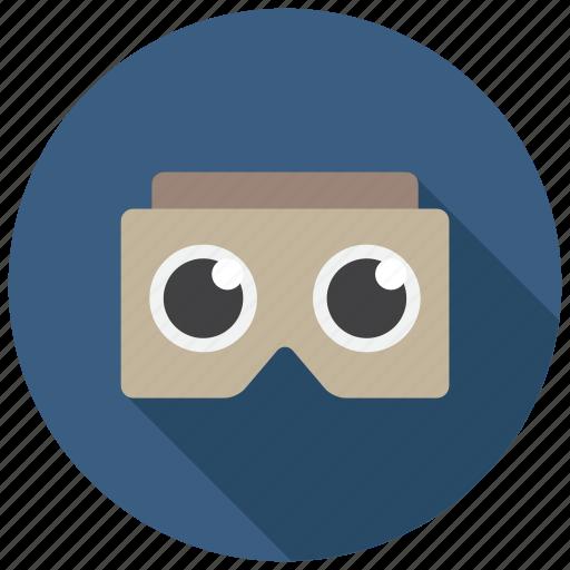 cardboard, goggles, virtual reality icon