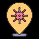 bacteria, coronavirus, covid, location, pin, placeholder, virus icon