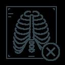 check mark, rib, rib cage, virus, x, x-ray icon
