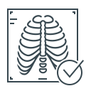 check, check mark, rib, rib cage, x, x-ray icon