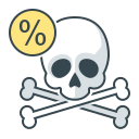 skull, death, percent, rate, rates icon