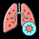 bacteria, coronavirus, flu, lungs, pneumonia, virus icon