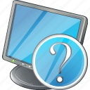 computer, desktop, display, monitor, question, screen icon