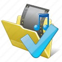 film, folder, media, movie, my, ok, video icon