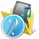 film, folder, media, movie, my, question, video icon