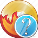 burn, cd, compact, disc, disk, dvd, question icon