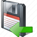 backup, data, disk, download, file, floppy, guardar, import, save icon
