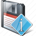 backup, data, disk, download, file, floppy, info, save icon