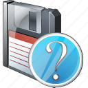 backup, data, disk, download, file, floppy, question, save icon