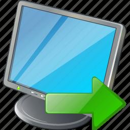 computer, desktop, display, export, monitor, screen icon