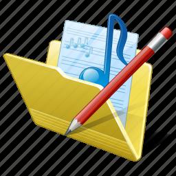 audio, edit, folder, media, music, my, songs icon