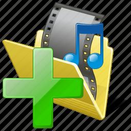 add, film, folder, media, movie, my, video icon