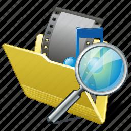 film, folder, media, movie, my, search, video icon