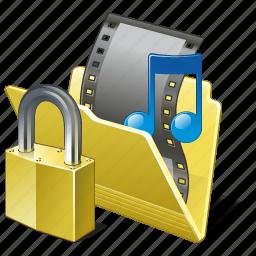 film, folder, locked, media, movie, my, video icon