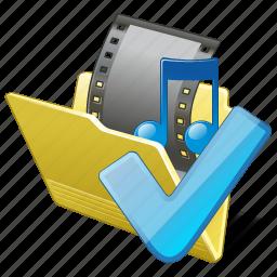 film, folder, media, movie, my, ok, video icon