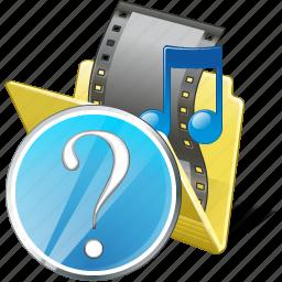 film, folder, media, movie, my, question, video icon