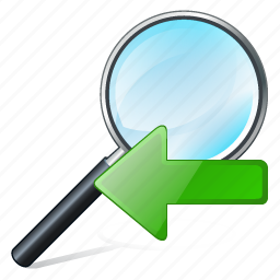 find, left, magnifier, previous, search, zoom icon