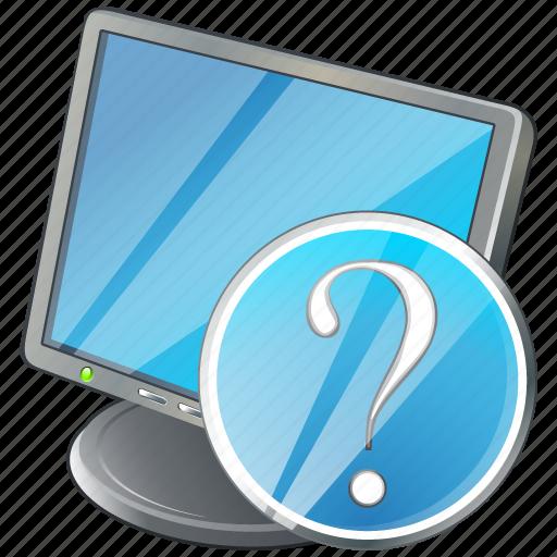computer, desktop, display, monitor, question, screen icon