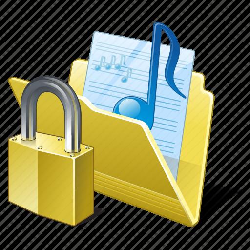 audio, folder, locked, media, music, my, songs icon