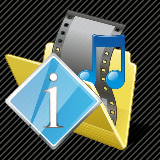 film, folder, info, media, movie, my, video icon