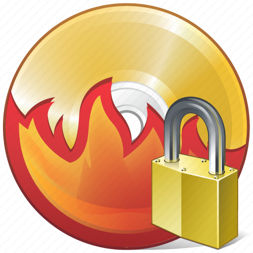 burn, cd, compact, disc, disk, dvd, locked icon