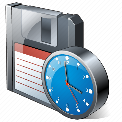 backup, clock, data, disk, download, file, floppy, guardar, save icon